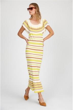 فستان سبور تريكو بخطوط ملونة