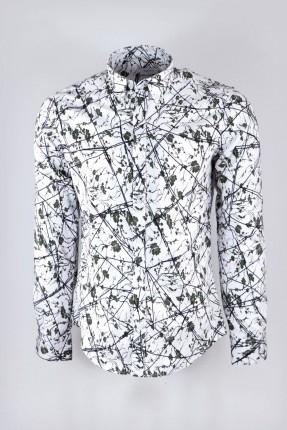 قميص رجالي كم طويل مزين باغصان شجر