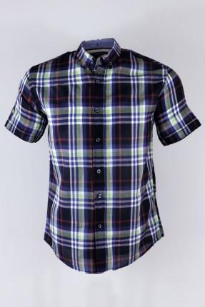 قميص رجالي سبور مخطط نص كم