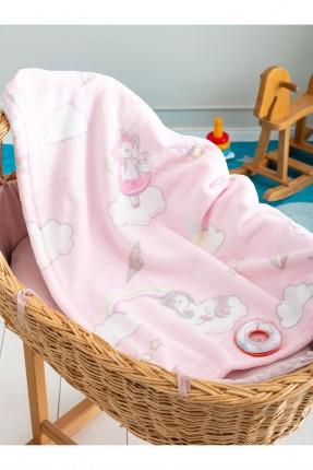 بطانية سرير بيبي بناتي مزين برسم