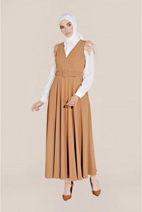 طقم فستان سبور مزين بالريش مع بلوز