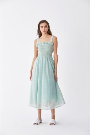 فستان سبور مزين بكشكش