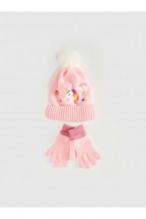 قبعة اطفال بناتي بنقشة يونيكورن+ قفازات