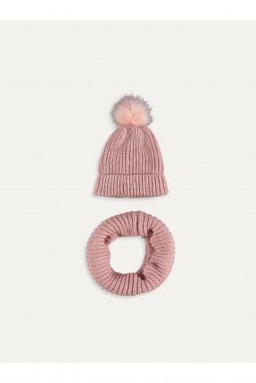 قبعة اطفال بناتي تريكو مزينة فرو + لفحة