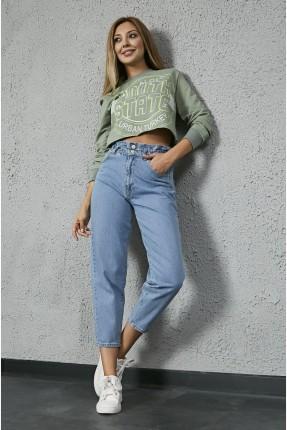 بنطال نسائي جينز بخصر مطاط