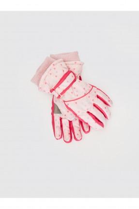 قفازات اطفال بناتي بطبعة قلوب ملونة