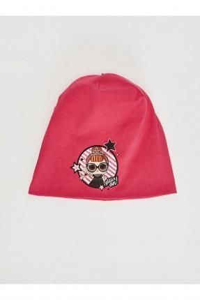 قبعة اطفال بناتي تريكو بطبعة_زهري