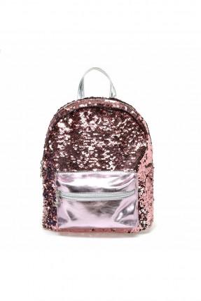 حقيبة مدرسية اطفال بناتي مزينة بترتر - زهري