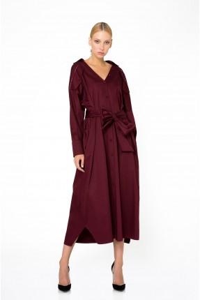 فستان سبور بياقة V - خمري