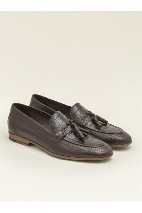 حذاء رجالي جلد بشراشيب - بني