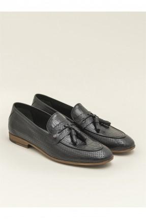 حذاء رجالي جلد بنقشة - اسود