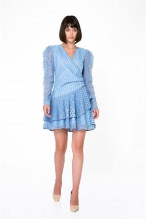 فستان رسمي بموديل لف على الخصر - ازرق