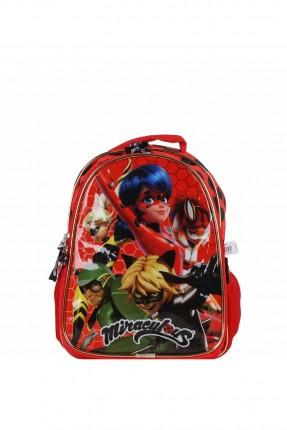 حقيبة مدرسية اطفال بناتي بطبعة مارينت - احمر