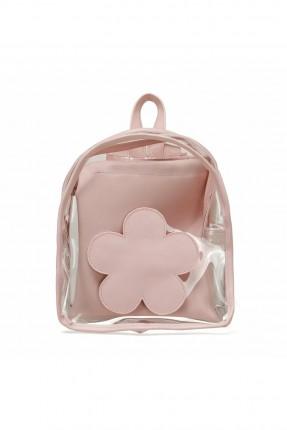 حقيبة ظهر اطفال بناتي بطبعة ورد - زهري