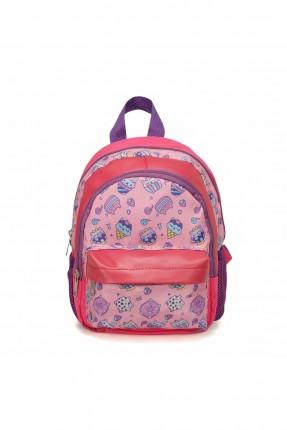 حقيبة مدرسية اطفال بناتي بطبعة قطة - زهري