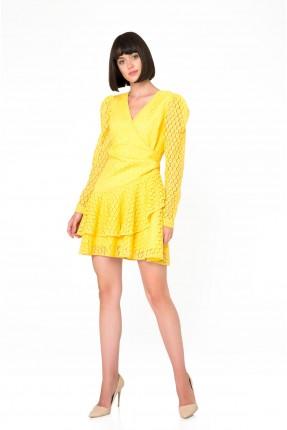 فستان رسمي بدانتيل - اصفر