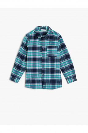 قميص اطفال ولادي كاروهات بجيب