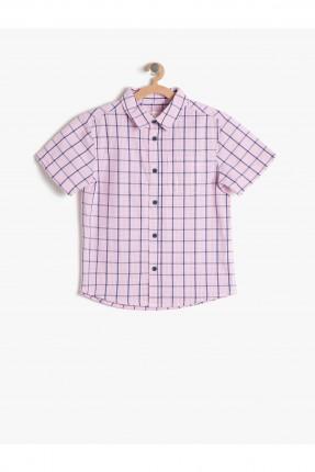 قميص اطفال ولادي بطبعة مربعات