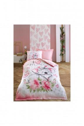 طقم غطاء سرير اطفال بناتي مزين برسم