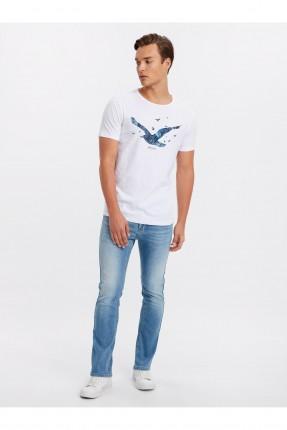 بنطال جينز رجالي سليم فيت بكحتة