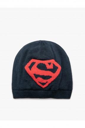 قبعة بيبي ولادي بطبعة شعار سوبر مان - كحلي