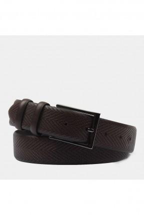 حزام رجالي مزخرف - بني