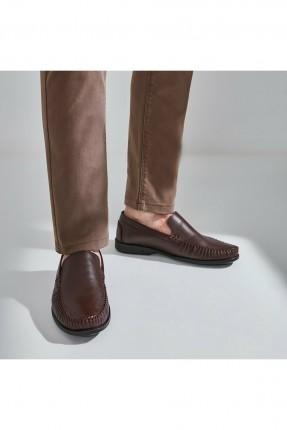 حذاء رجالي مزموم من الامام - بني