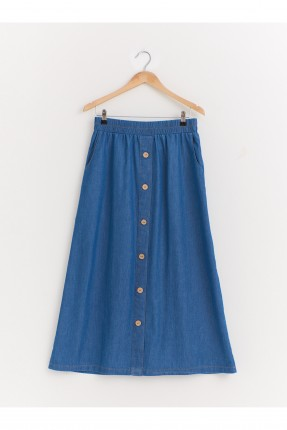 تنورة طويلة جينز بخصر مطاطي