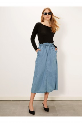 تنورة طويلة جينز بخصر مزموم