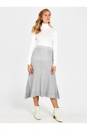 تنورة طويلة واسعة من الاسفل - رمادي