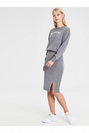 تنورة قصيرة تريكو بفتحة جانبية - رمادي