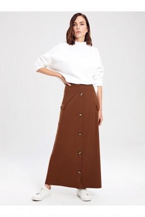تنورة طويلة سبور بجيوب جانبية - بني