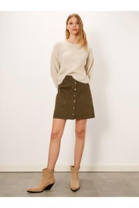 تنورة قصيرة جينز بجيوب - زيتي