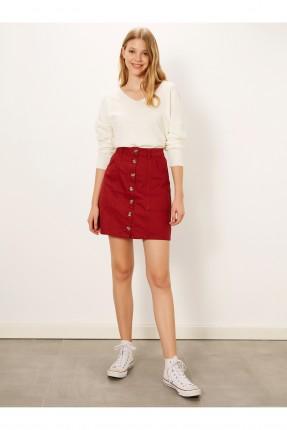تنورة قصيرة جينز بازرار امامية
