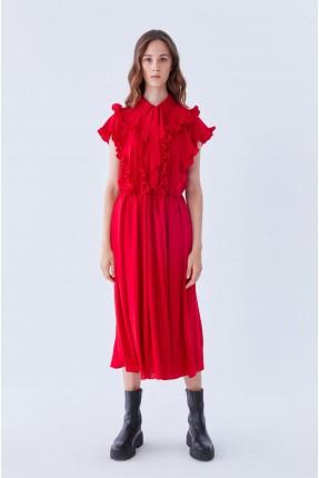 فستان سبور بكشكش - احمر