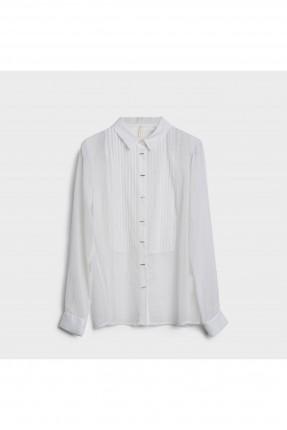 قميص نسائي باكمام طويلة - ابيض