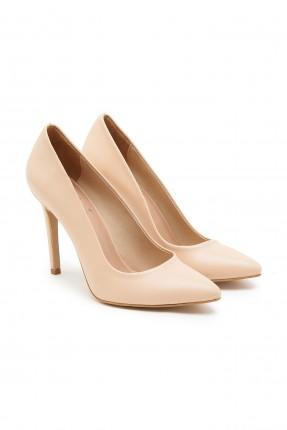 حذاء نسائي جلد بكعب مسمار - بيج