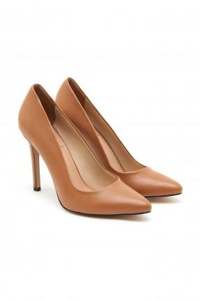 حذاء نسائي جلد بكعب عالي - بني