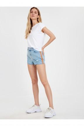 شورت نسائي جينز بنقشة جانبية