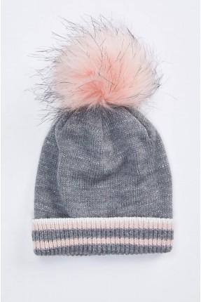 قبعة بيبي بناتي تريكو مزينة بكرة فرو - فضي