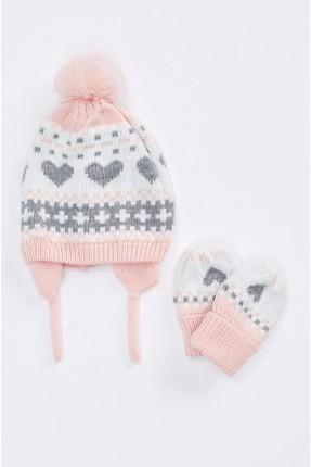 قبعة بيبي بناتي مزخرفة + قفازات