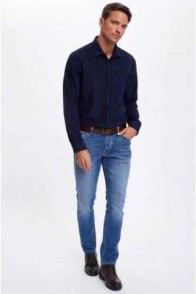 بنطال جينز رجالي بكحتة سليم فيت