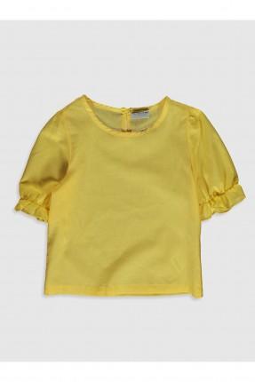 بلوز اطفال بناتي مزموم الاكمام - اصفر