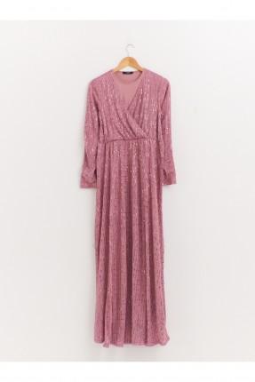 فستان حمل رسمي شيفون لامع - زهري