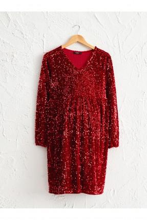 فستان رسمي حمل مخمل مزين بترتر - احمر داكن