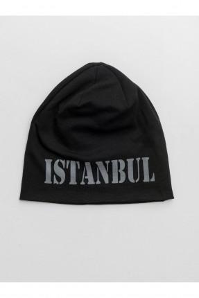 قبعة رجالية بطبعة اسطنبول - اسود