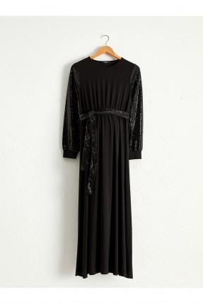 فستان رسمي حمل بنقشة لامعة - اسود