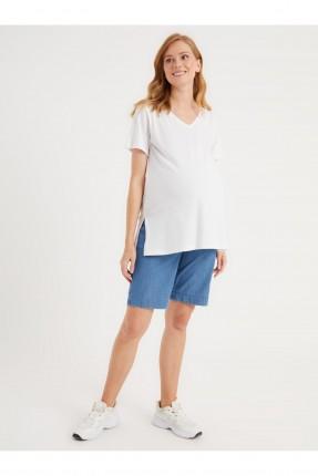 شورت حمل جينز بخصر مطاط