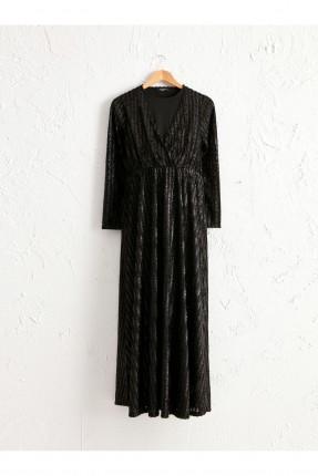 فستان رسمي حمل لامع بياقة v - اسود