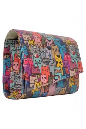 حقيبة يد نسائية بطبعة قطط ملونة